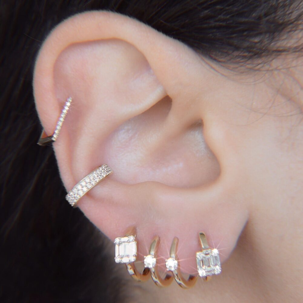 Mini Diamond Square Hoops