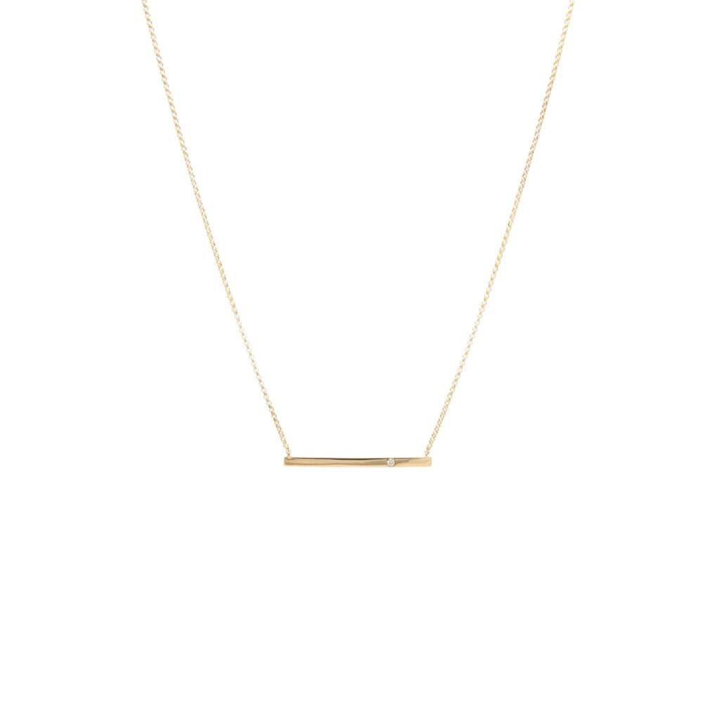 Bar Necklace with Solitaire Diamond