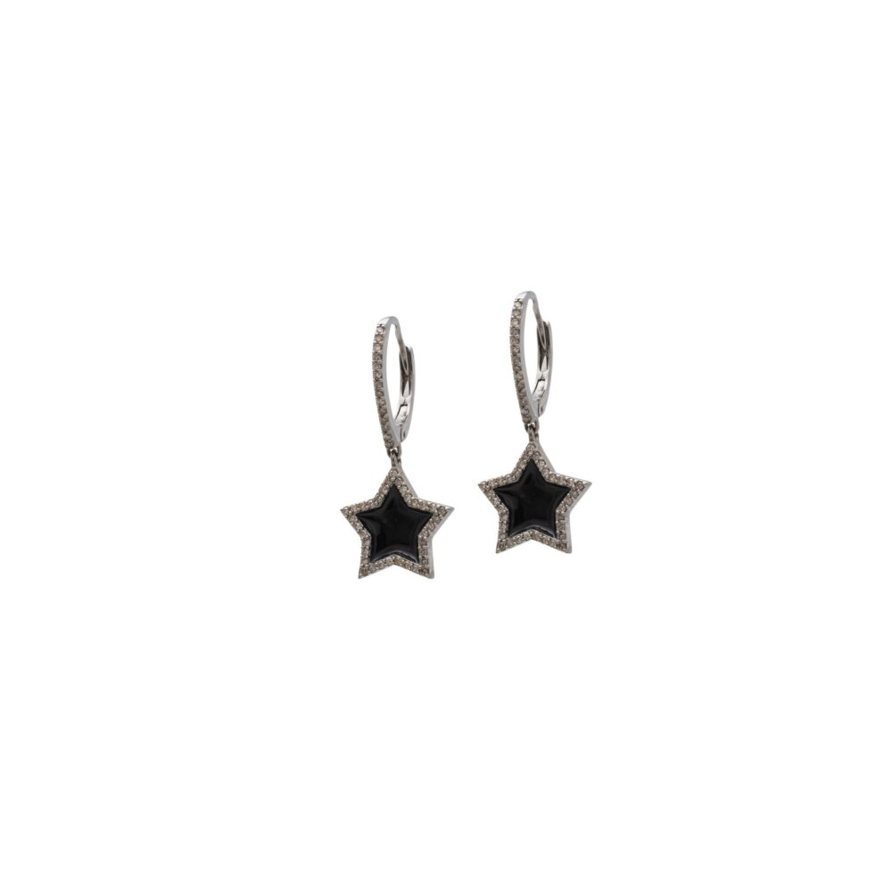 Black Enamel Star Dangle Earrings Sterling Silver