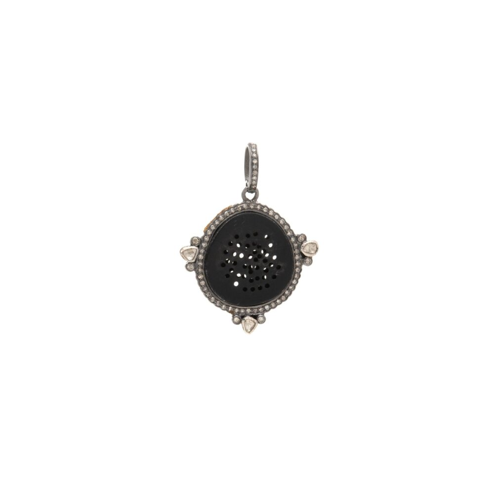 Black Oxidized Pinhole Pendant with Pave and Rose Cut Diamonds Sterling Silver