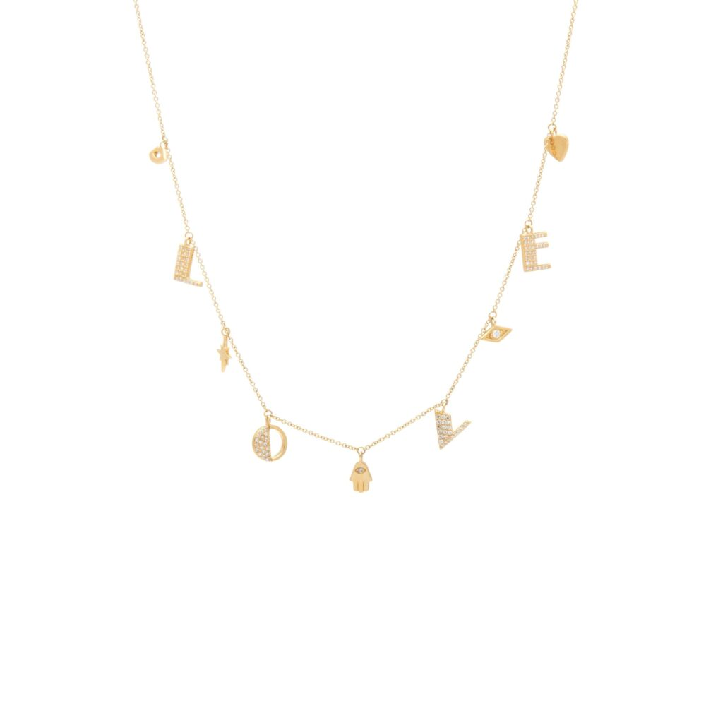 Diamond Dangling LOVE Necklace with Mini Protection Charms Yellow Gold