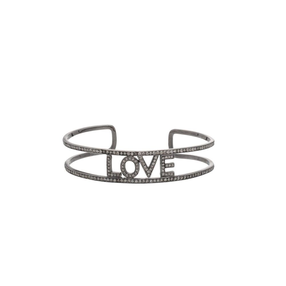 Diamond LOVE Cuff Bracelet Sterling Silver