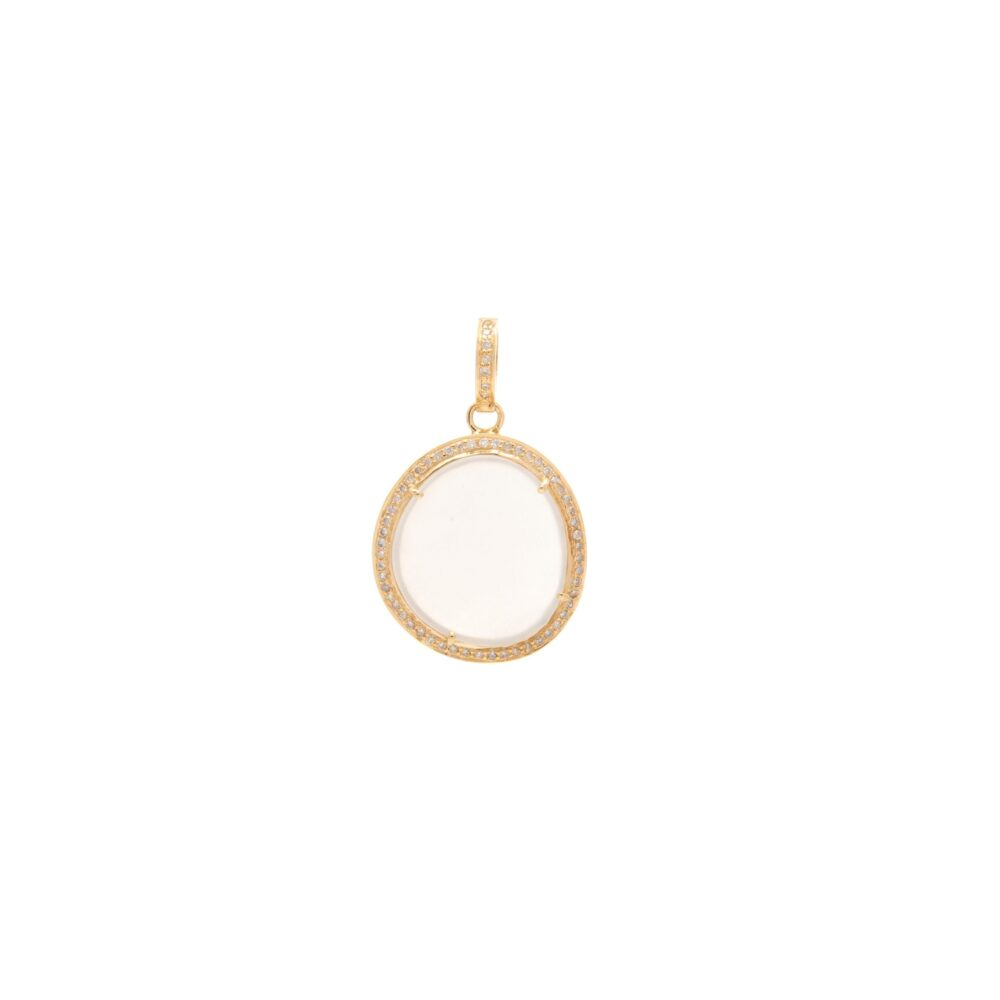Diamond Moonstone Charm Yellow Gold