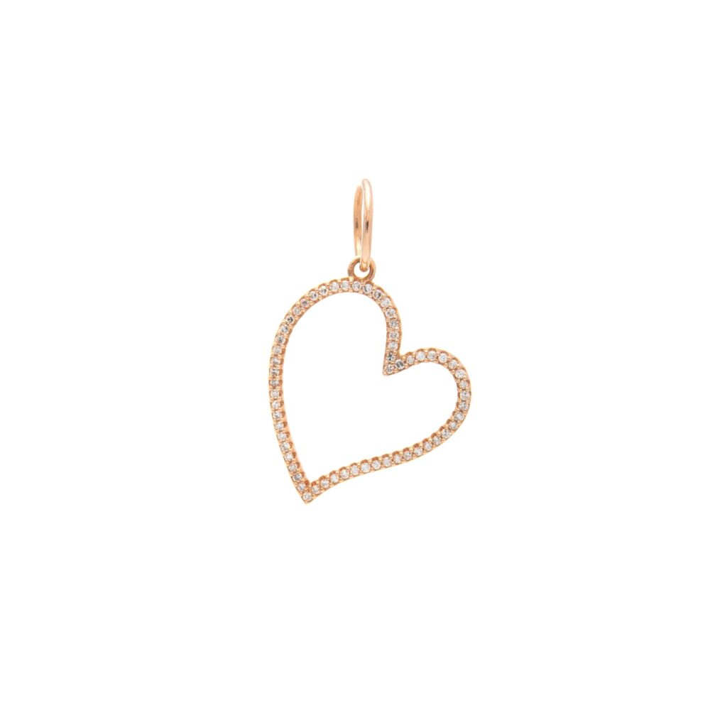 Diamond Open Heart Dangle Charm Rose Gold