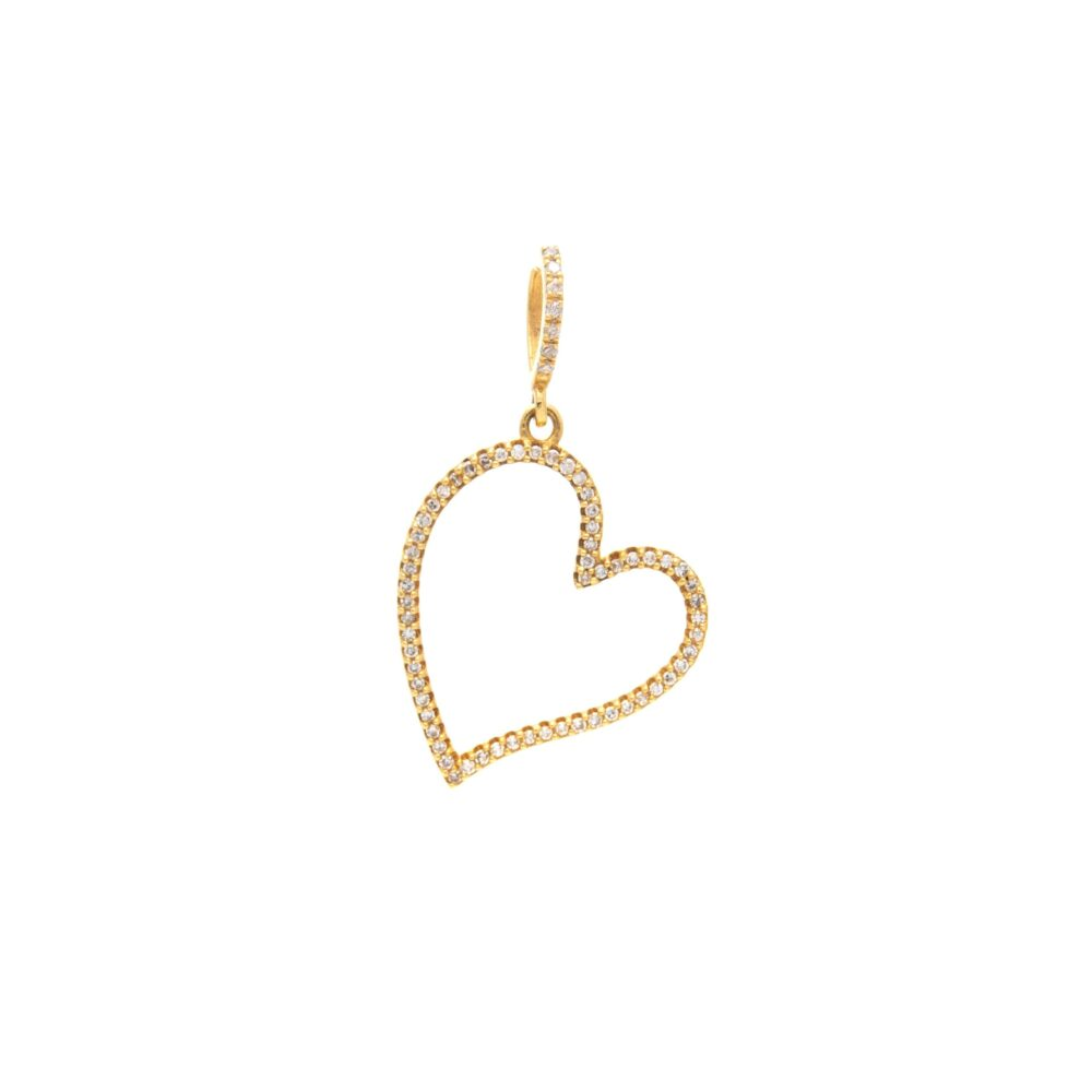 Diamond Open Heart Dangle Charm Yellow Gold