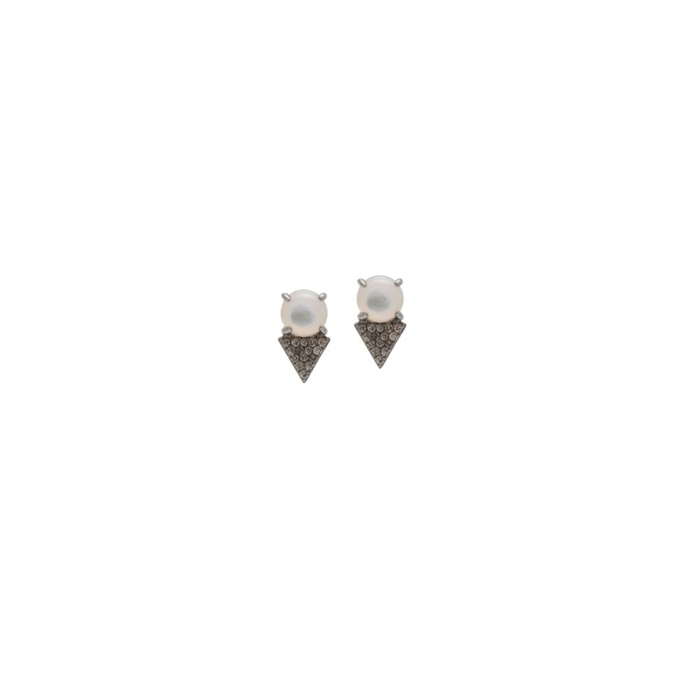 Diamond Pearl Earrings Sterling Silver