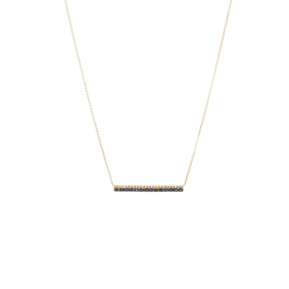 Diamond Sapphire Bar Necklace Yellow Gold