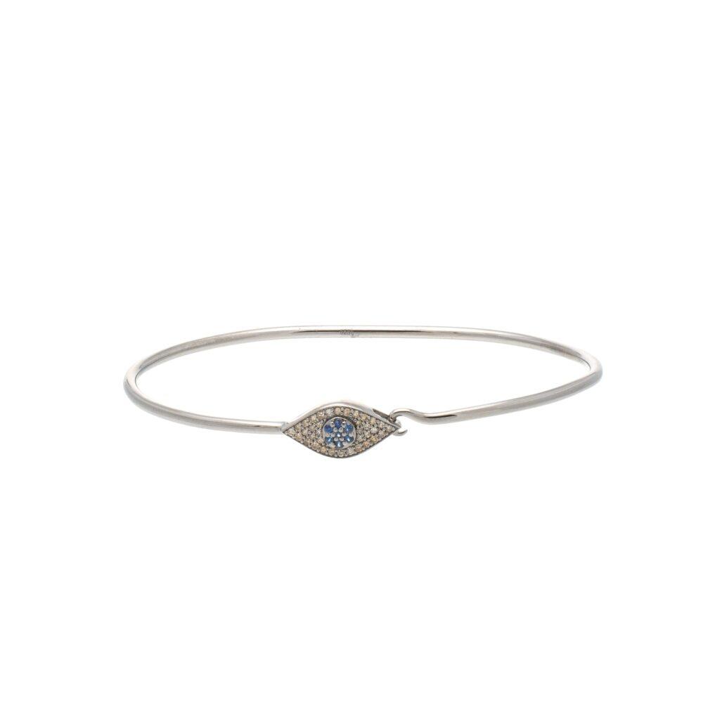 Diamond Sapphire Evil Eye Wire Bracelet Sterling Silver