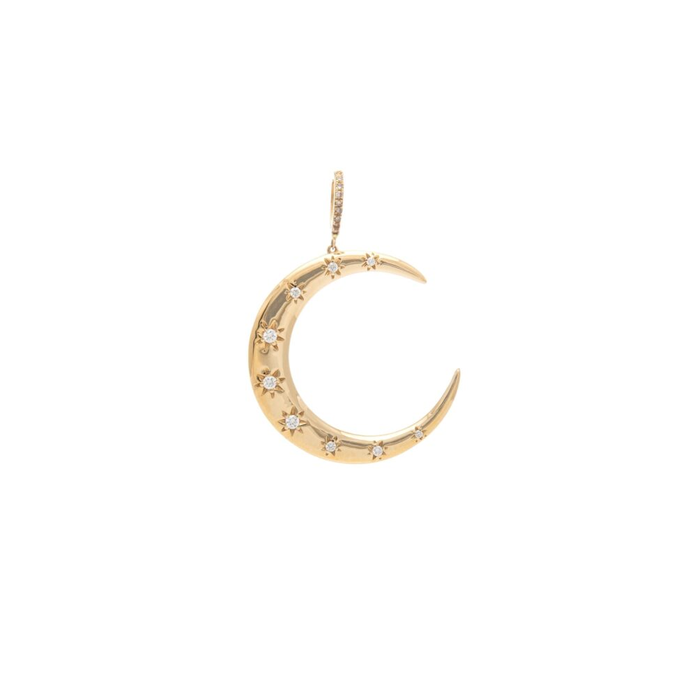 Diamond Solitaire Moon Pendant Yellow Gold