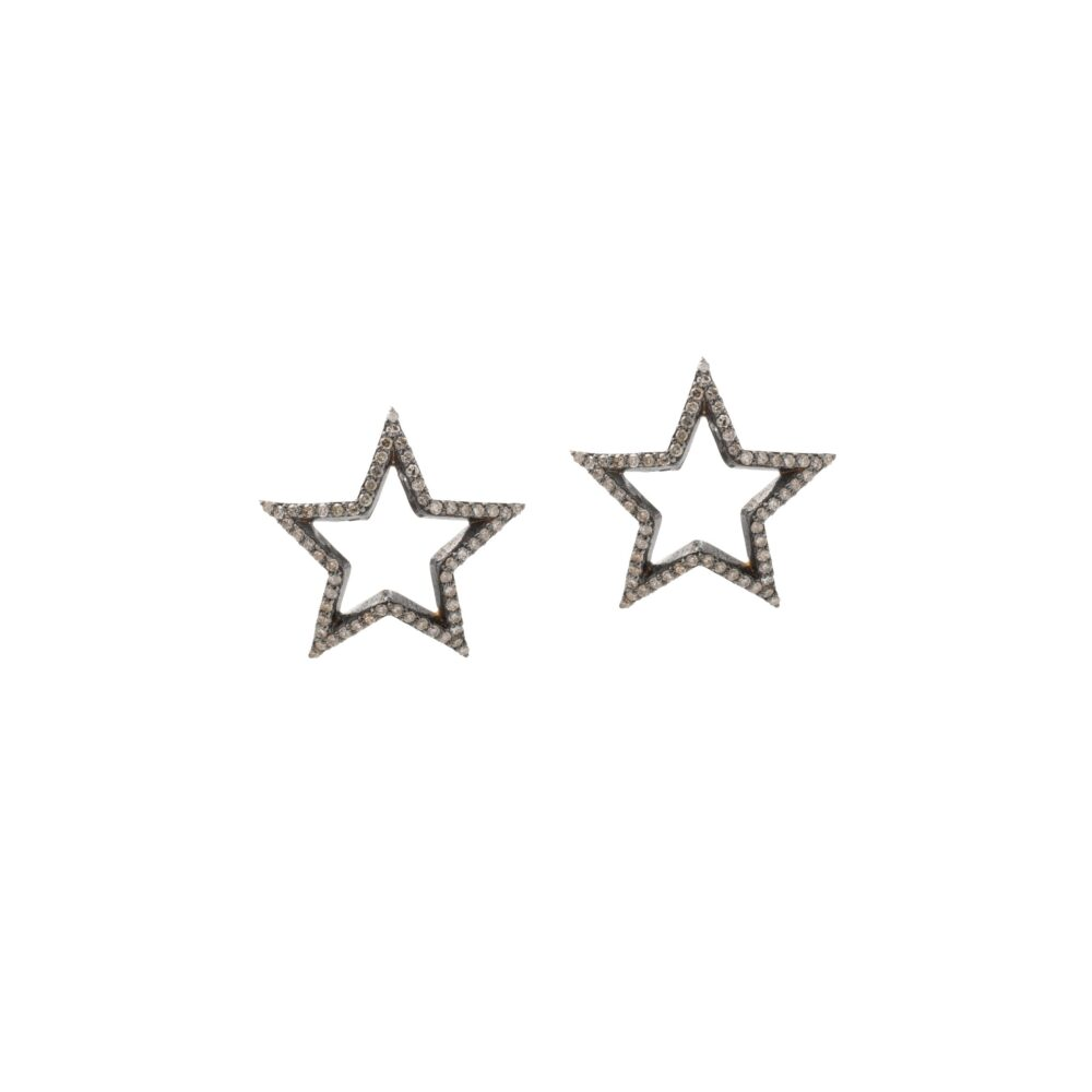 Medium Diamond Open Star Earrings Sterling Silver