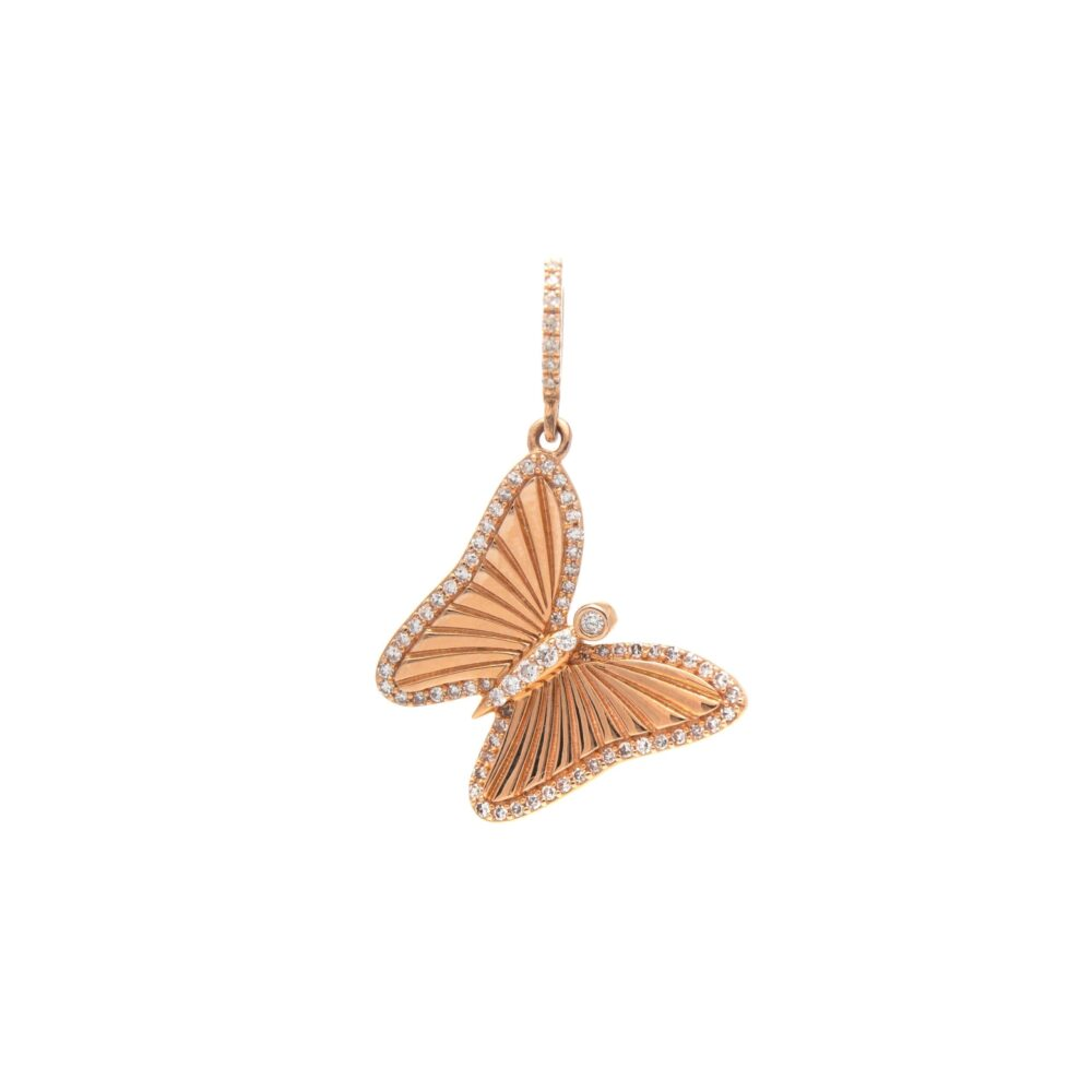 Mini Matte Diamond Butterfly Charm Rose Gold
