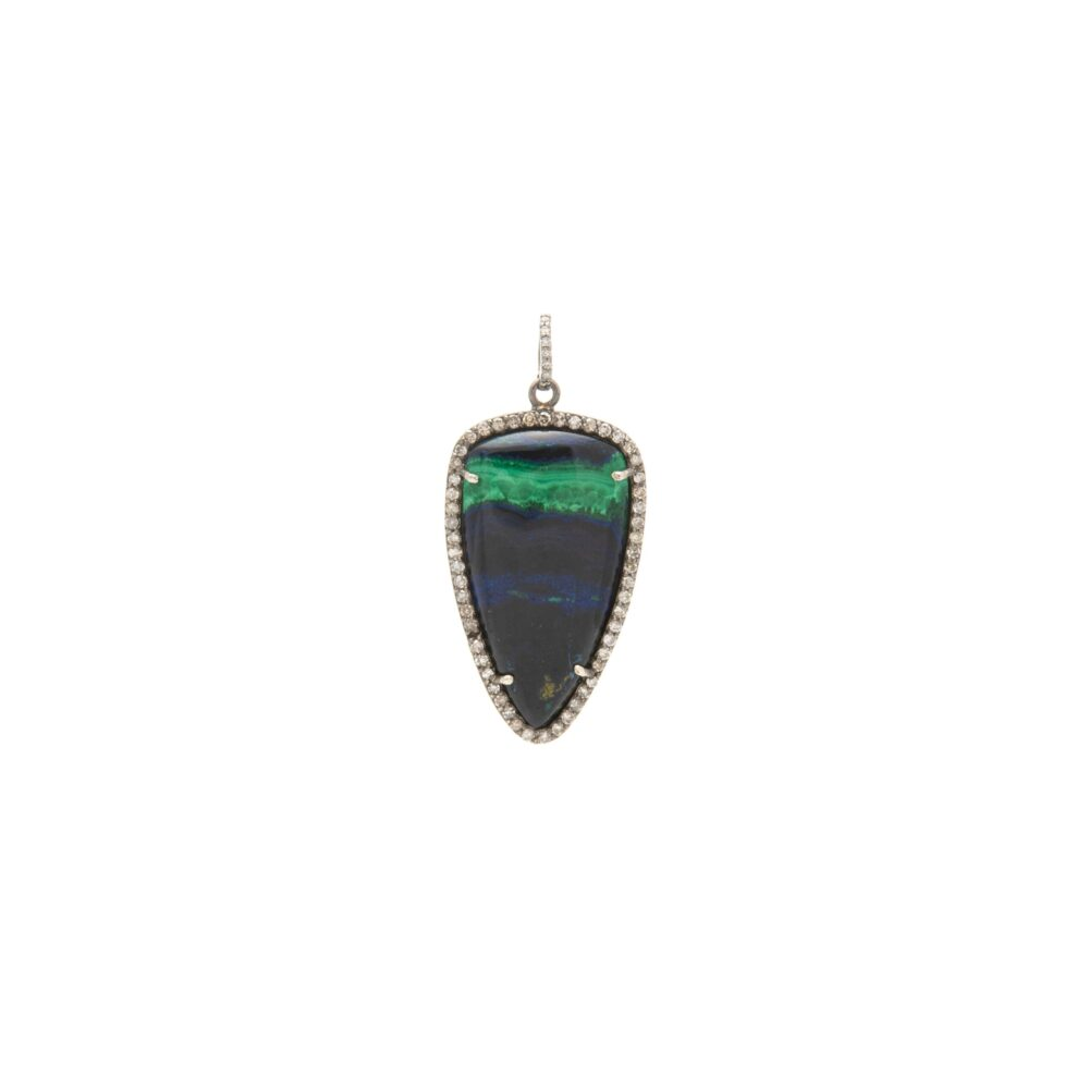 Tribal Diamond Agate Pendant Sterling Silver