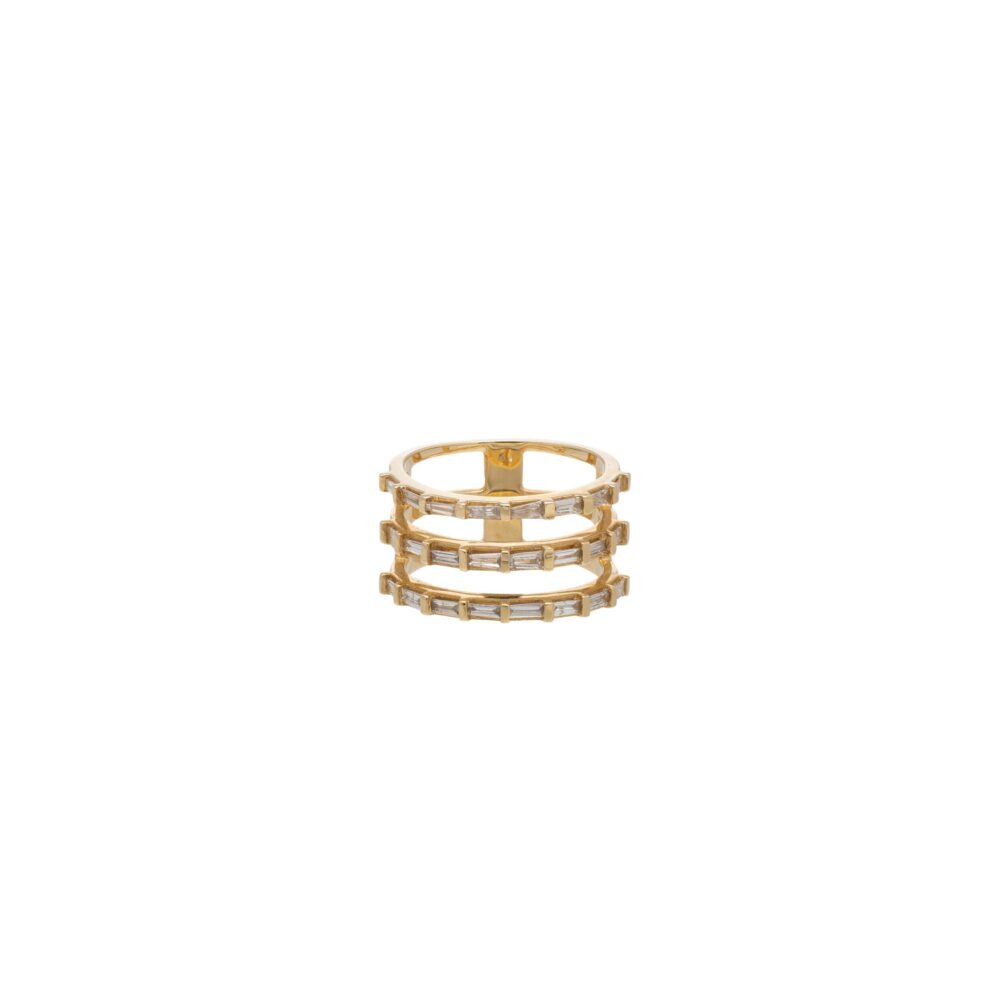 Triple Row Diamond Baguette Statement Ring Yellow Gold