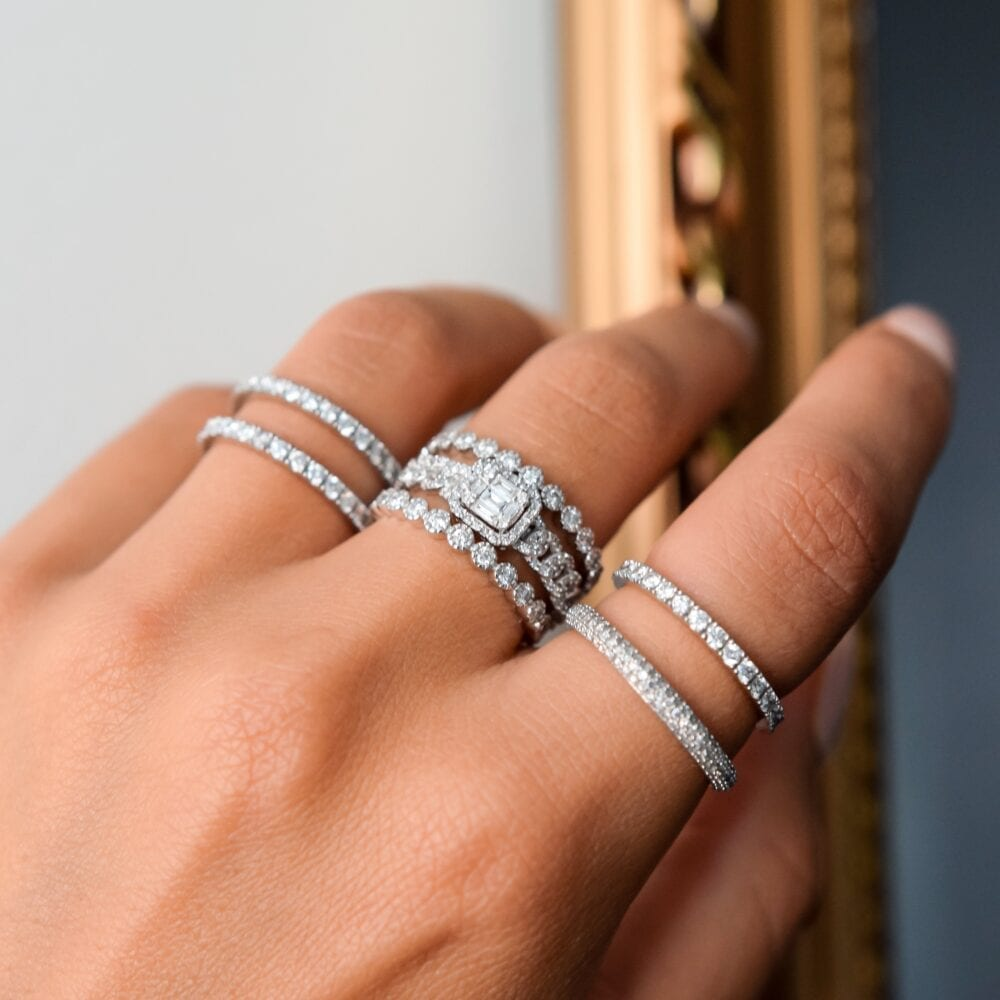 Diamond Baguette Link Chain Ring