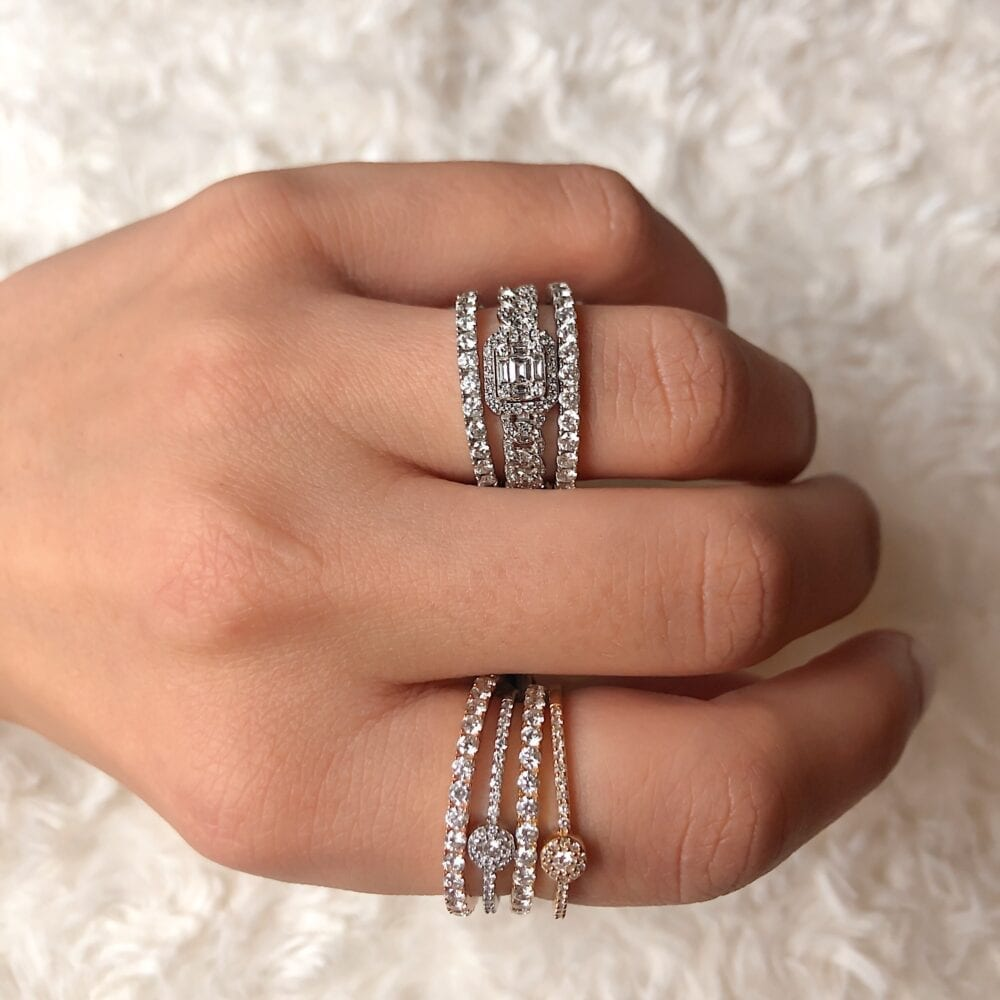 Diamond Baguette Link Chain Ring Gold