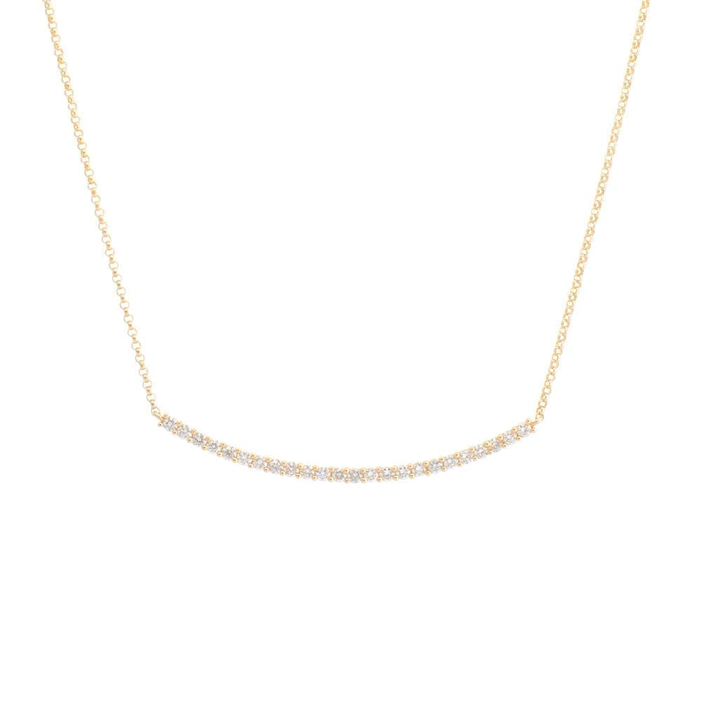 Diamond Ball Set Curved Bar Necklace Yellow Gold