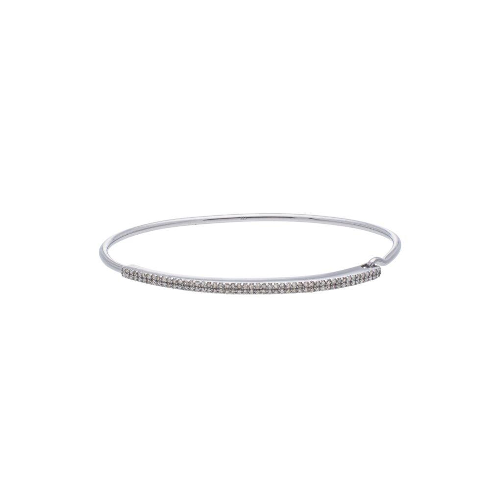 Diamond Bar Wire Bracelet Sterling Silver