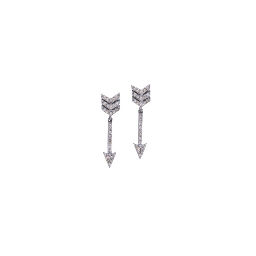 Diamond Cupid's Arrow Dangle Earrings Sterling Silver