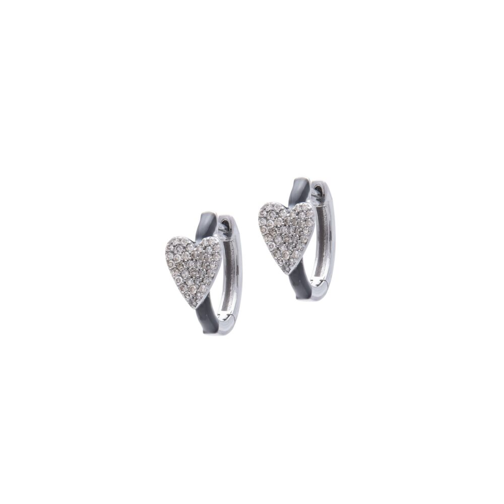 Diamond Heart Black Enamel Huggie Earrings Sterling Silver