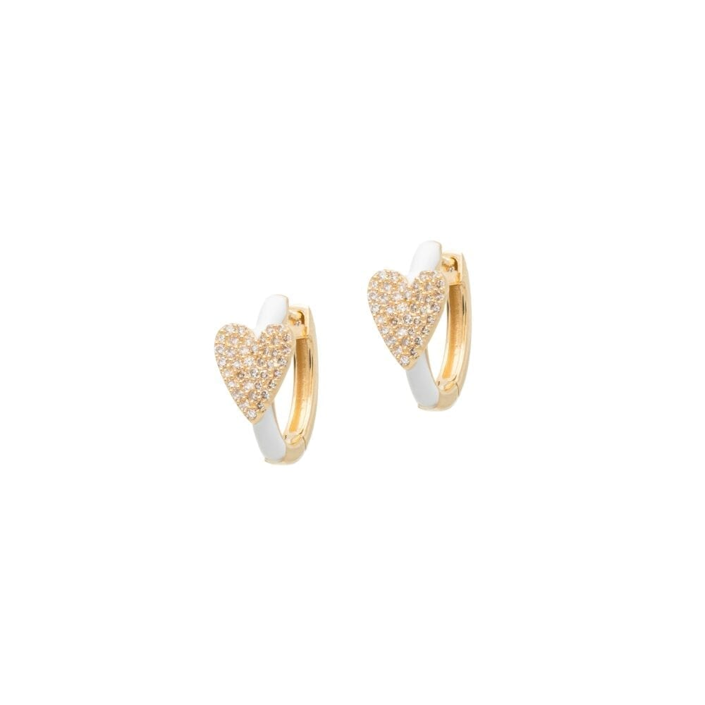 Diamond Heart White Enamel Huggie Earrings 14k Yellow Gold