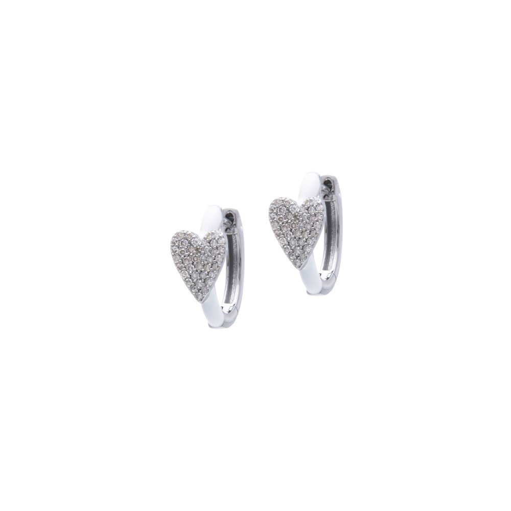 Diamond Heart White Enamel Huggie Earrings Sterling Silver