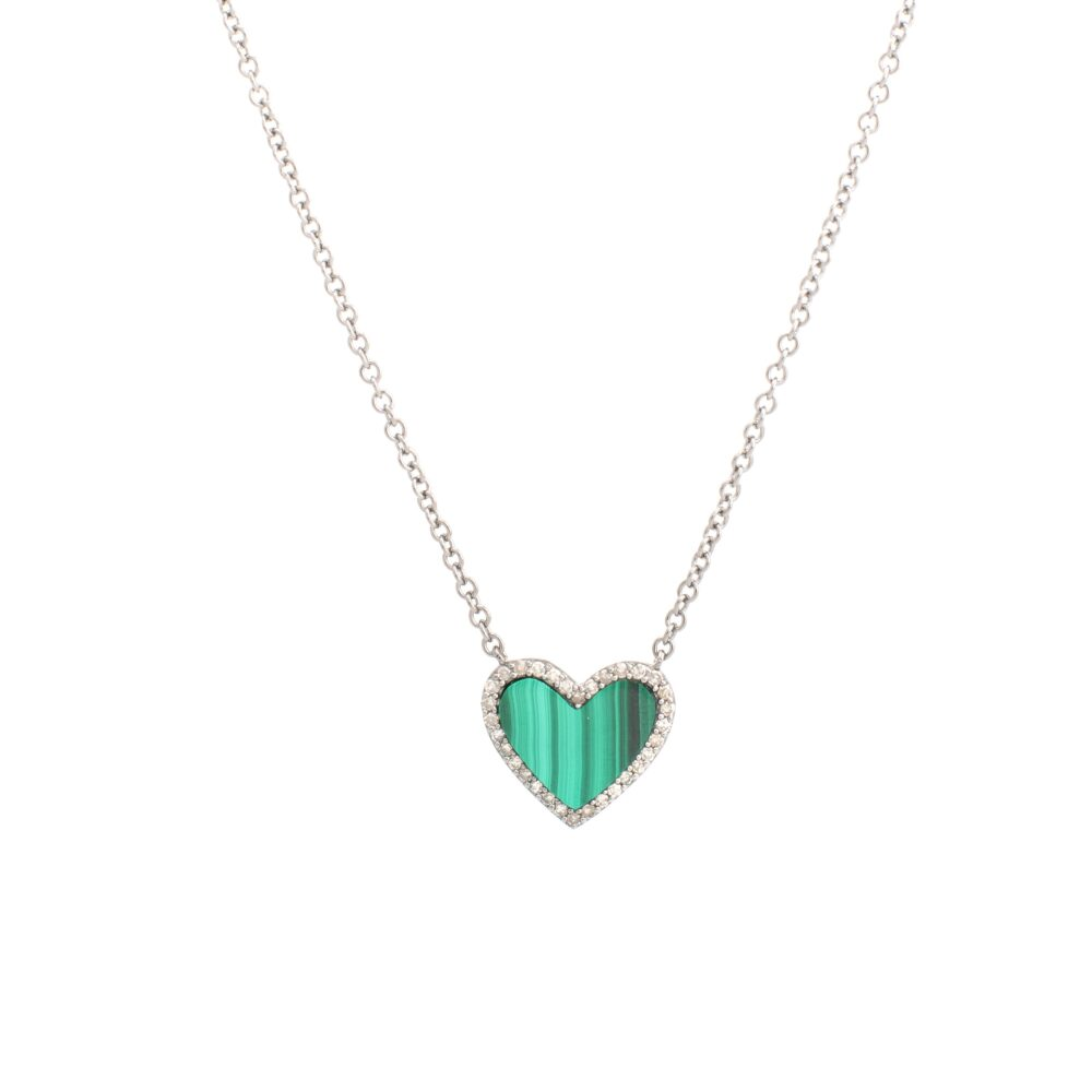 Diamond Malachite Heart Necklace White Gold