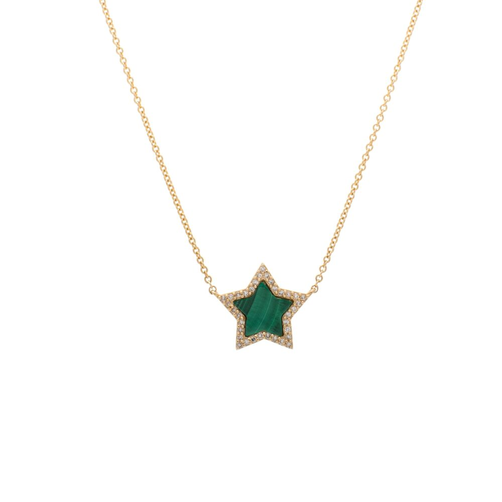 Diamond Malachite Star Necklace Yellow Gold