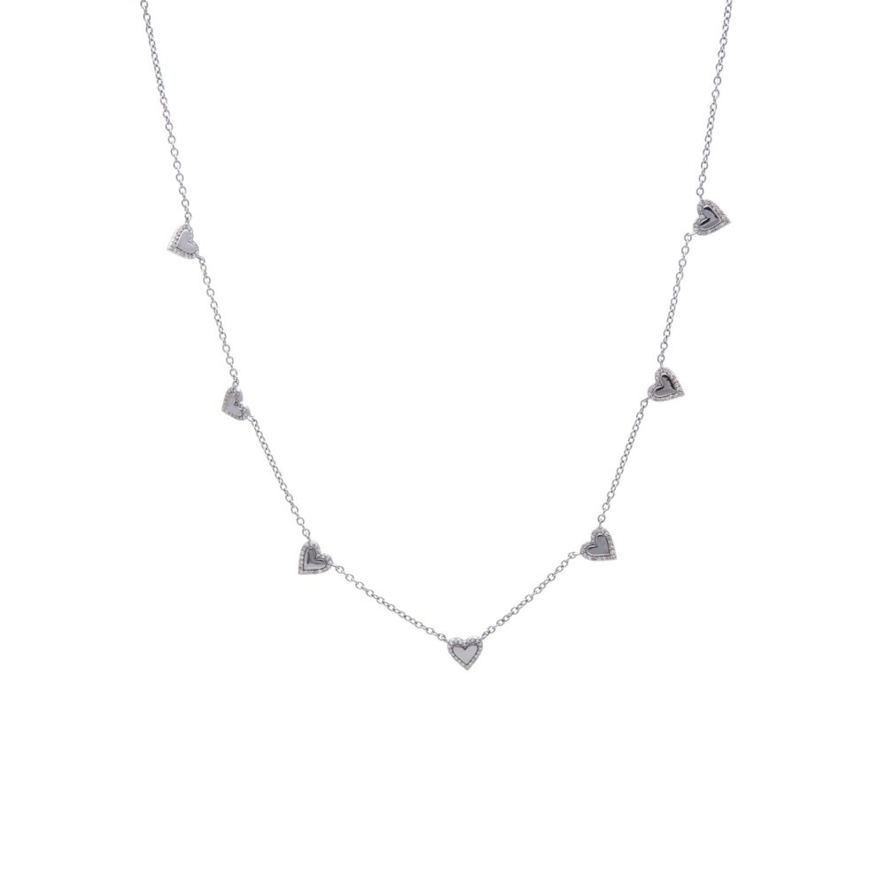 Diamond Mini Hearts Necklace Sterling Silver