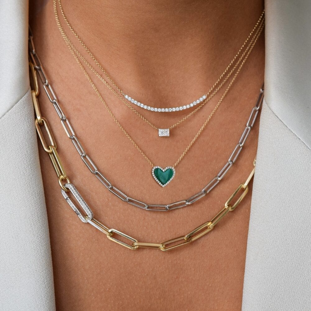 Diamond Mini Malachite Heart Necklace