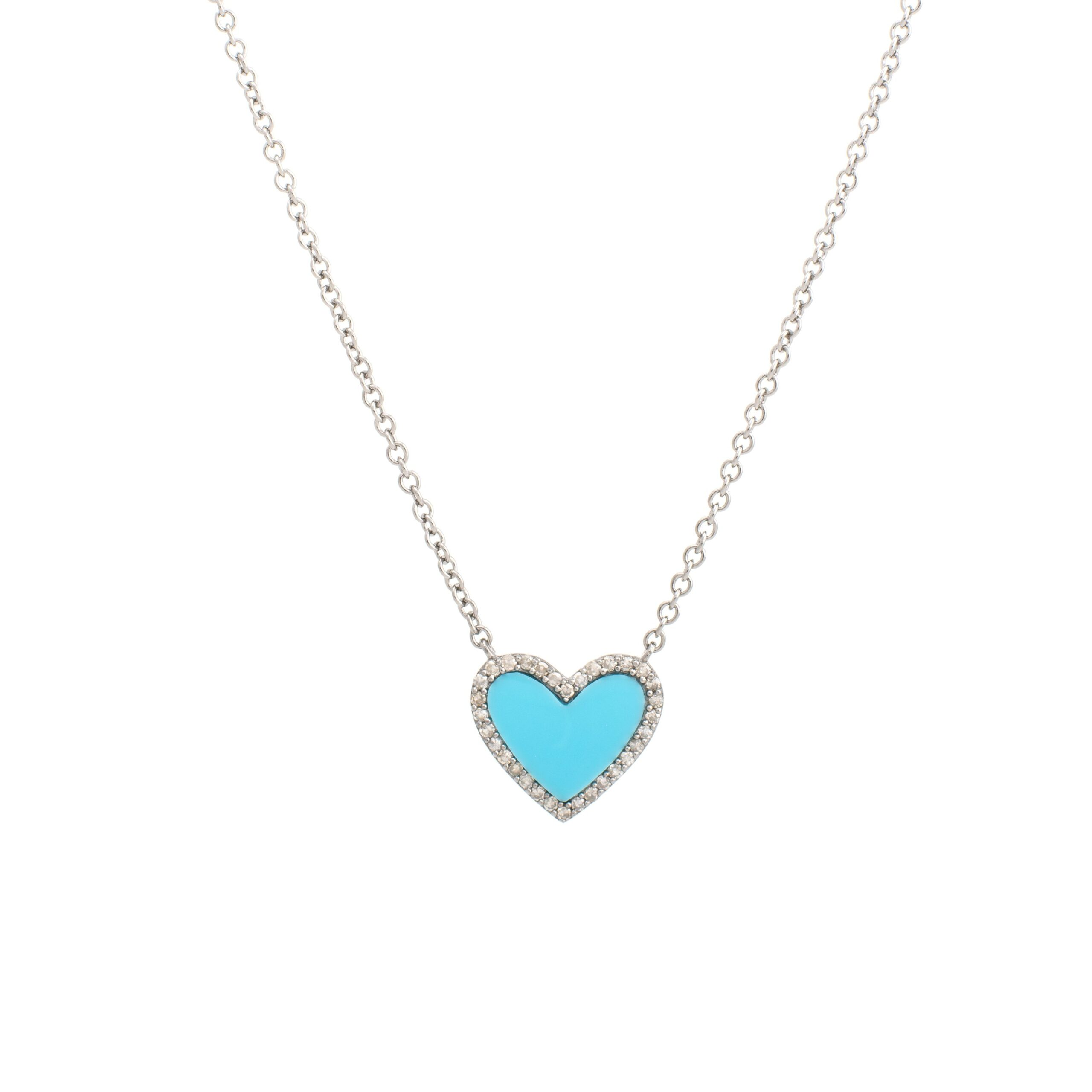 Diamond Mini Turquoise Heart Necklace Sterling Silver