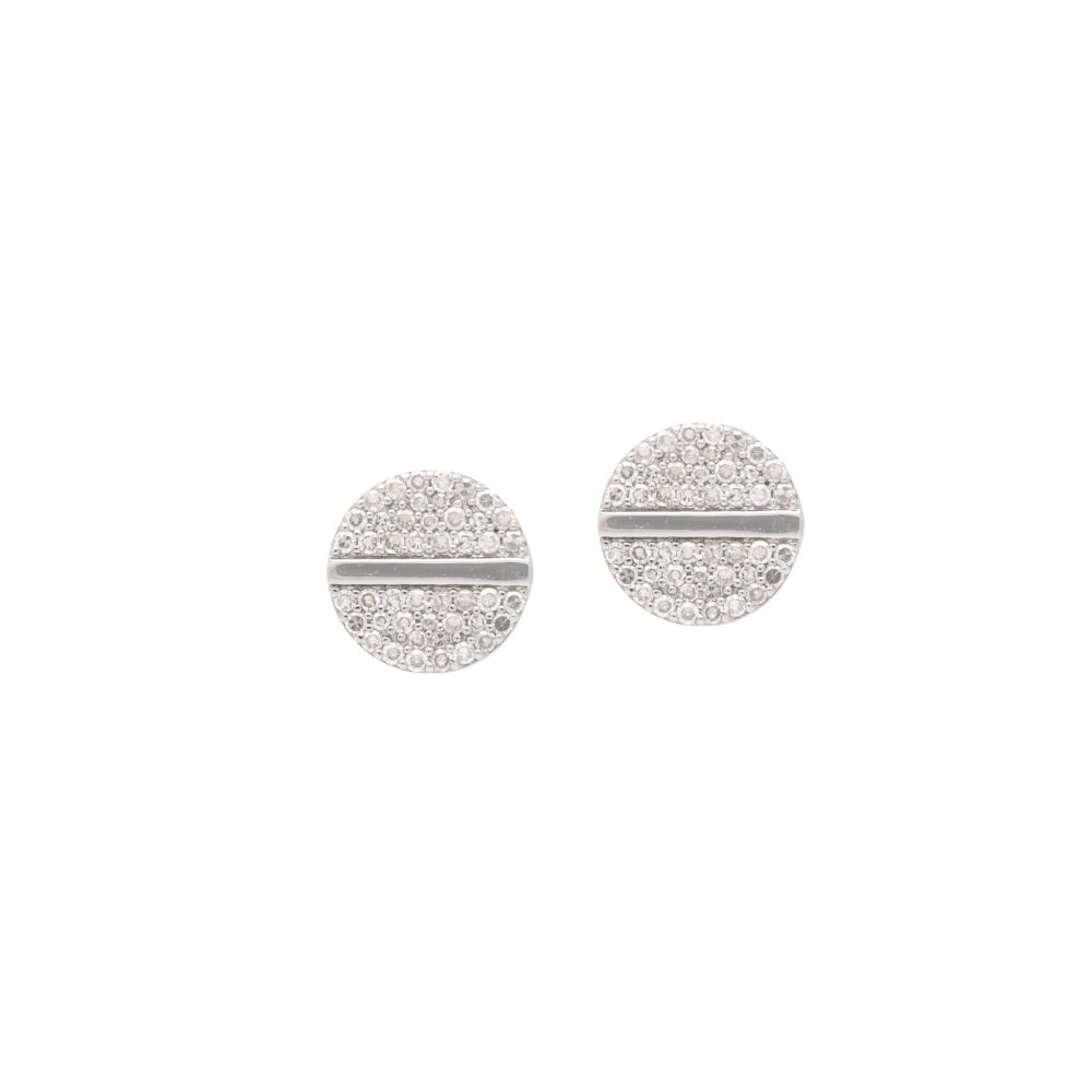 Diamond Nail Head Stud Earrings Sterling Silver