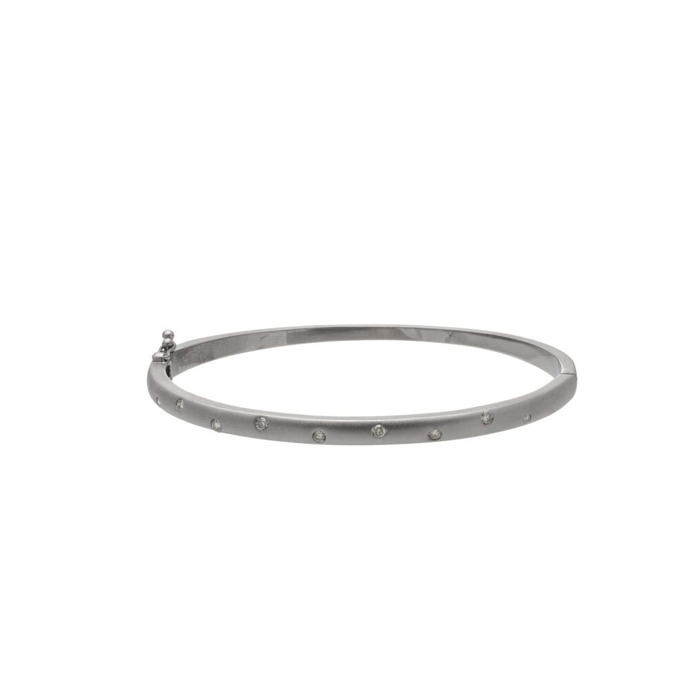 Matte Skinny Diamond Bangle Sterling Silver