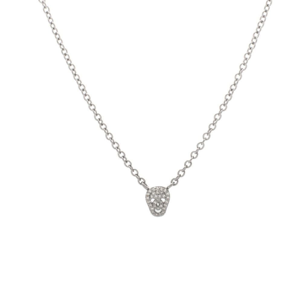 Mini Diamond Skull Necklace Sterling Silver
