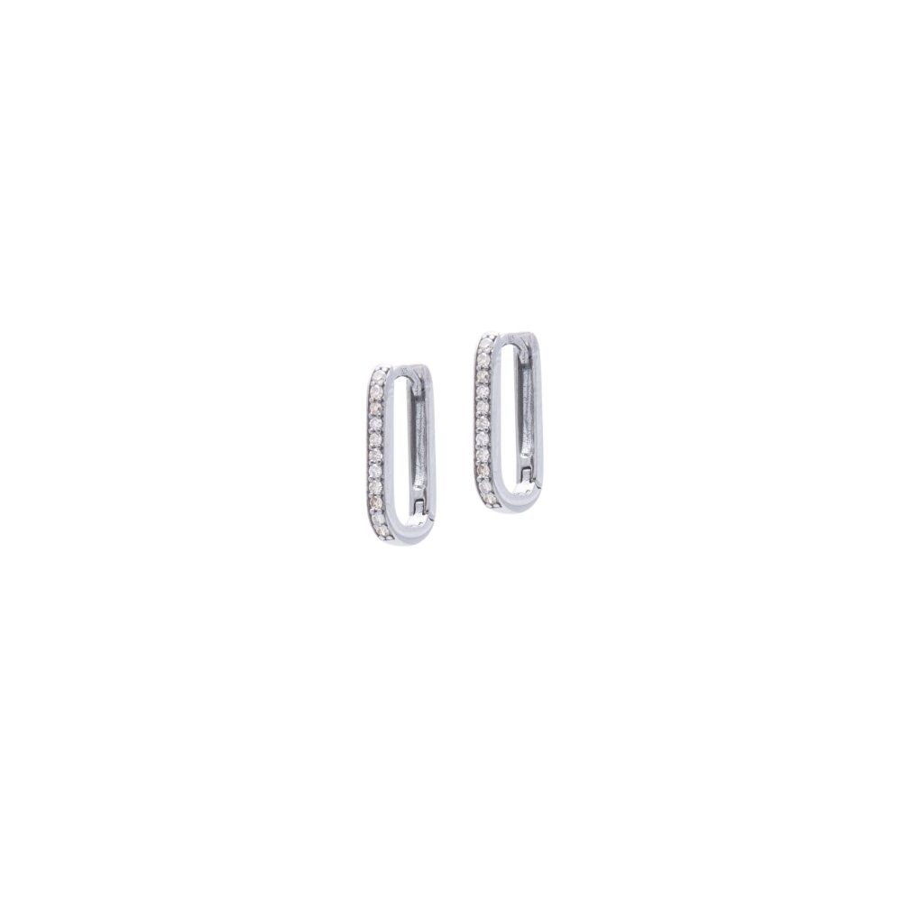 Mini Diamond Square Link Huggie Earrings Sterling Silver