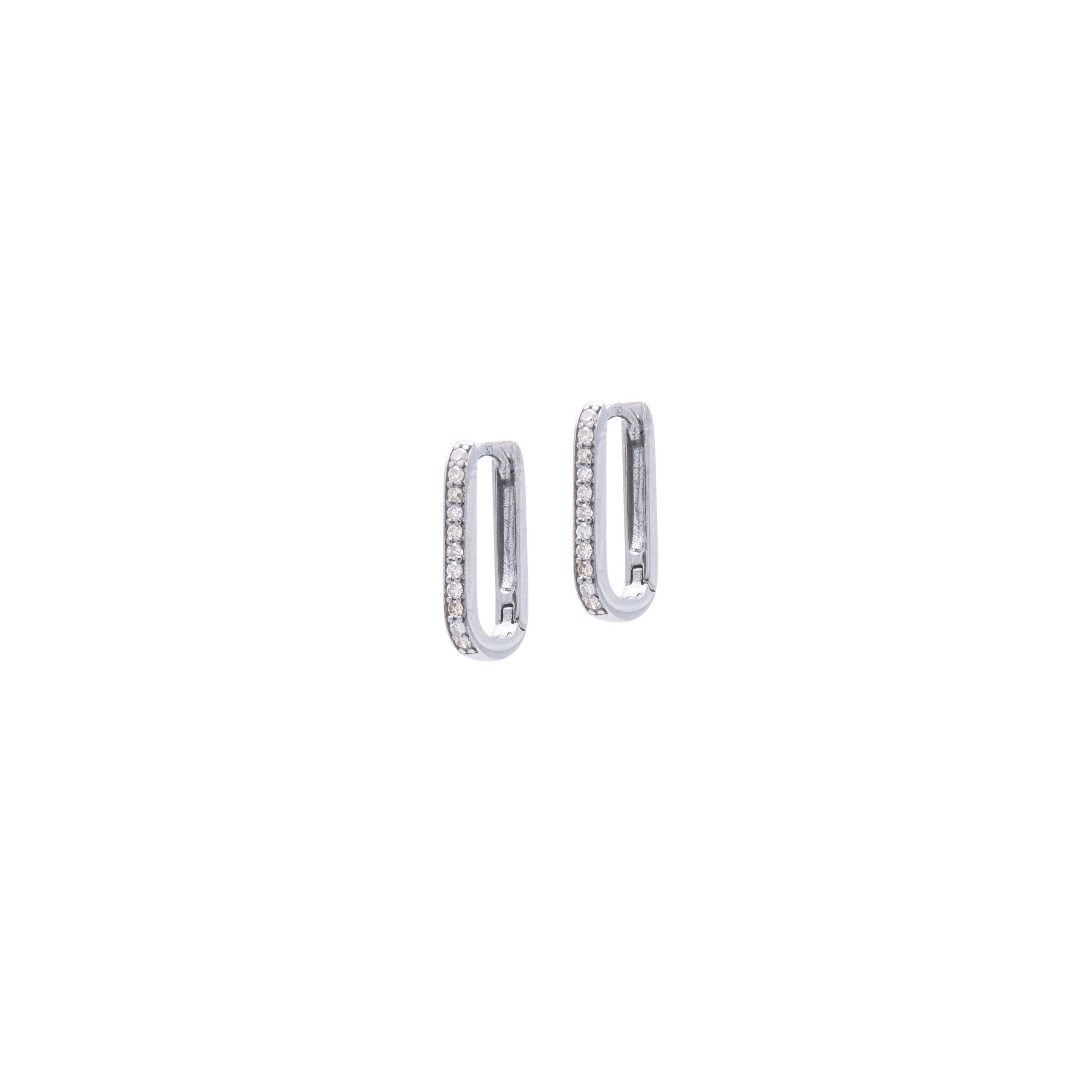 Mini Diamond Square Link Huggie Earrings Sterling Silver