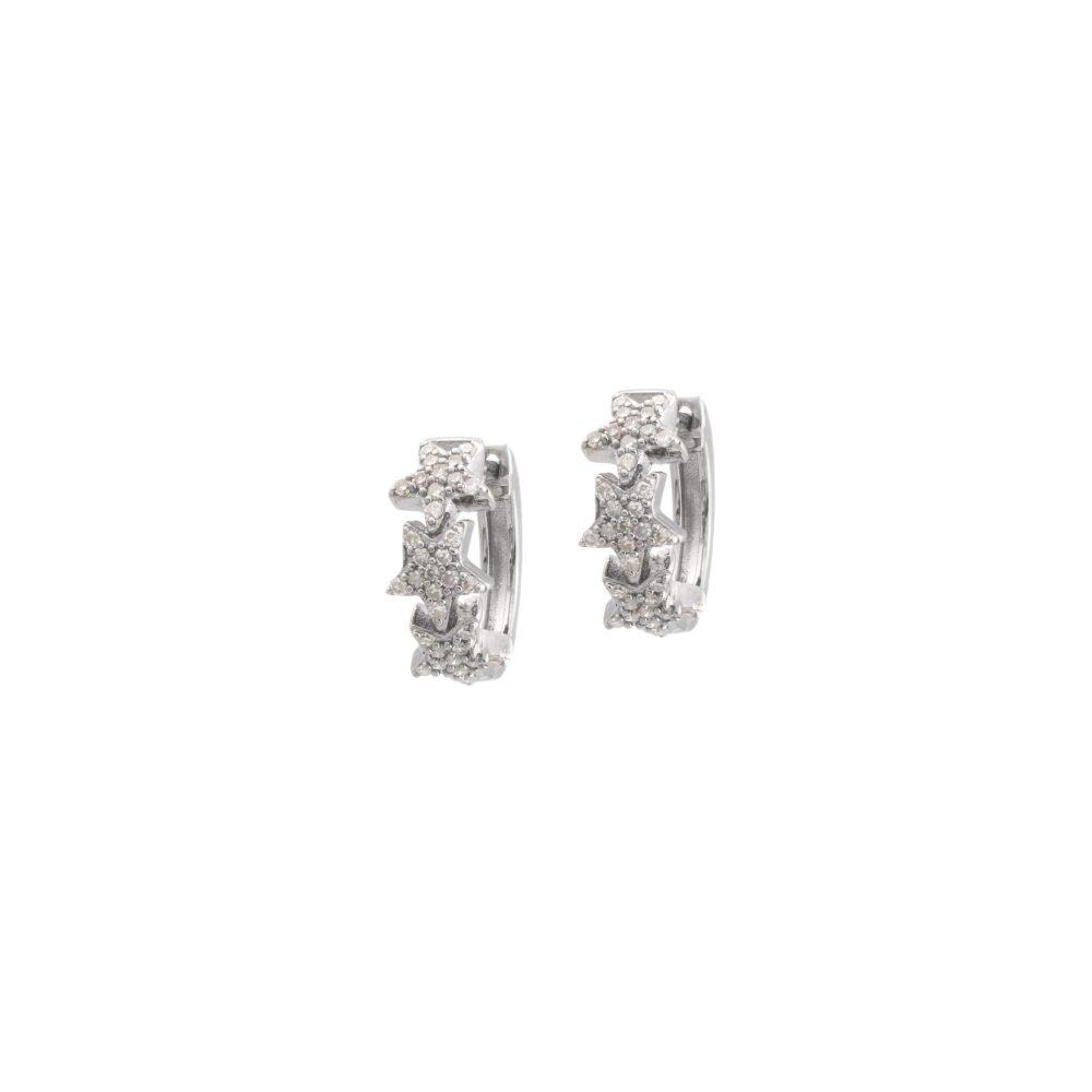 Mini Diamond Star Huggies Sterling Silver