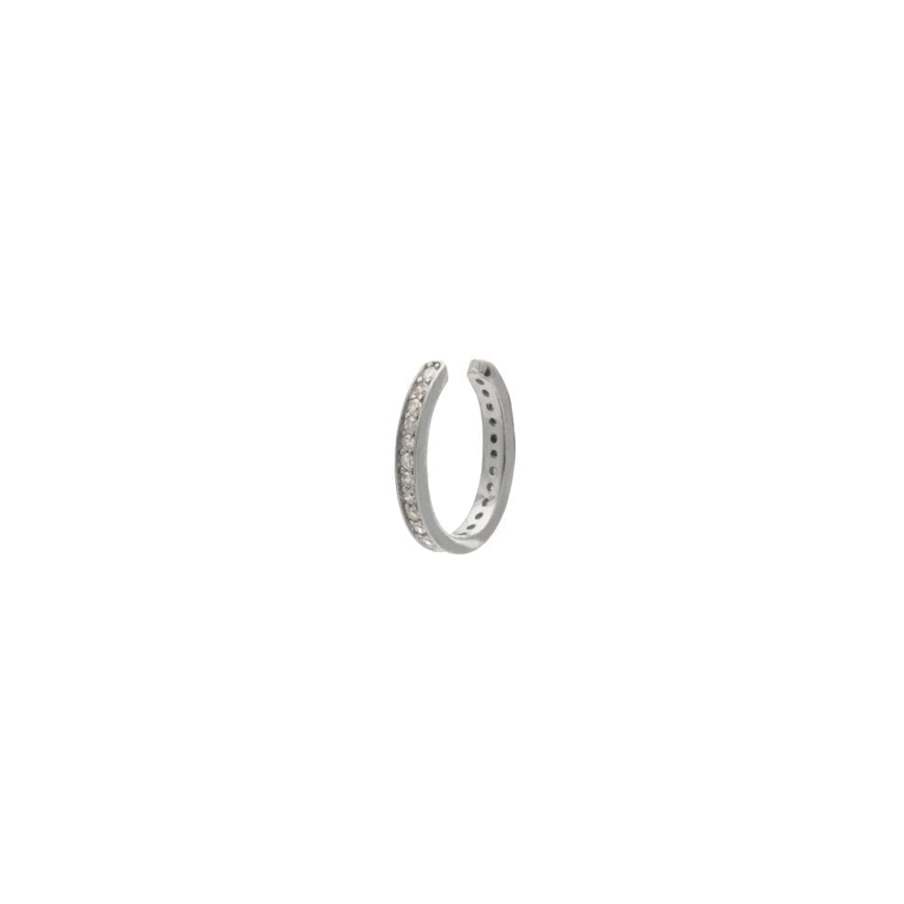 Pave Diamond Ear Cuff Sterling Silver