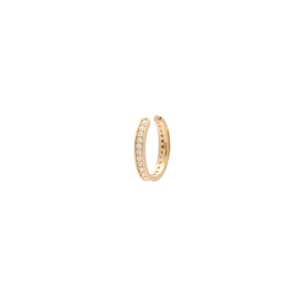 Pave Diamond Ear Cuff Yellow Gold