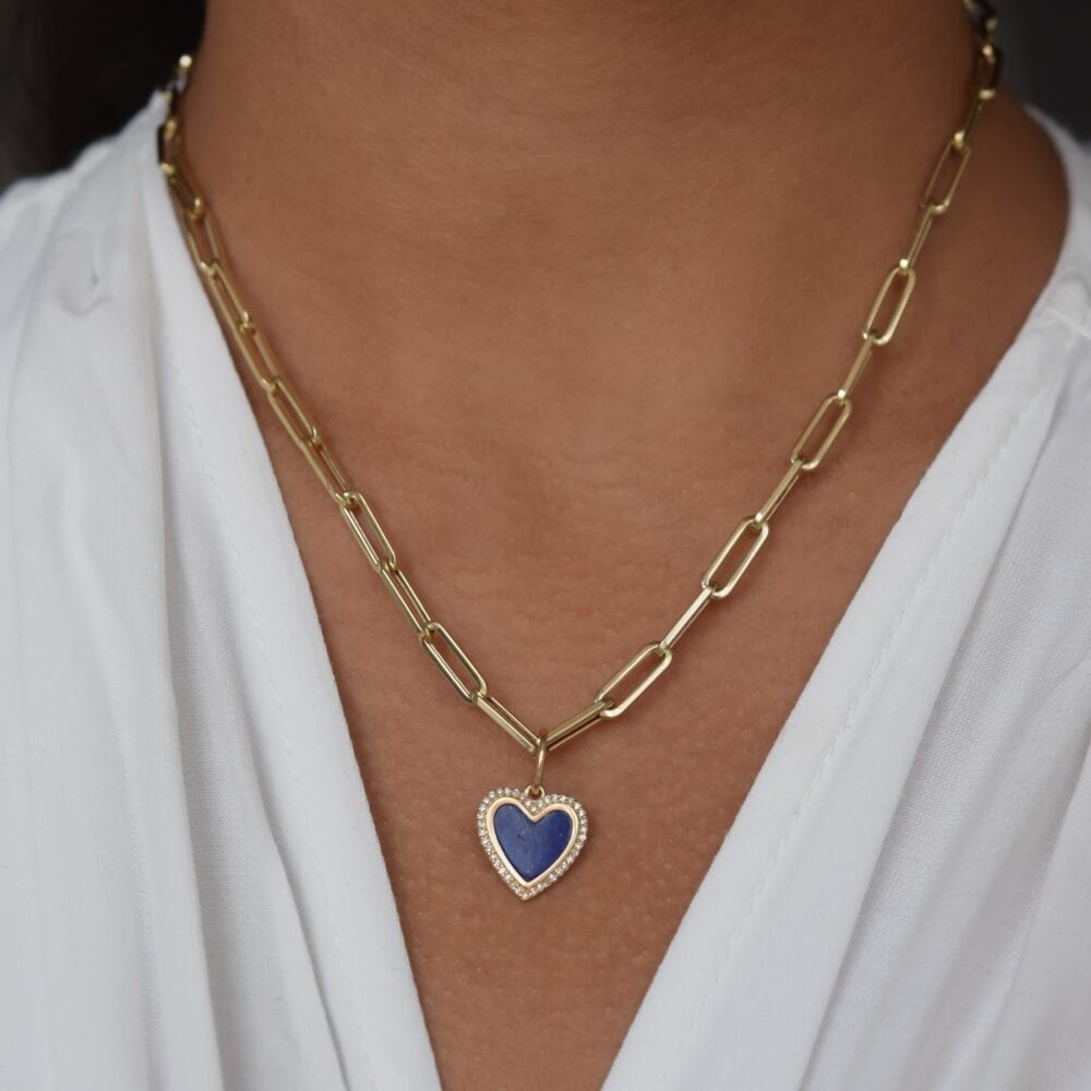 Small Diamond Lapis Heart Charm