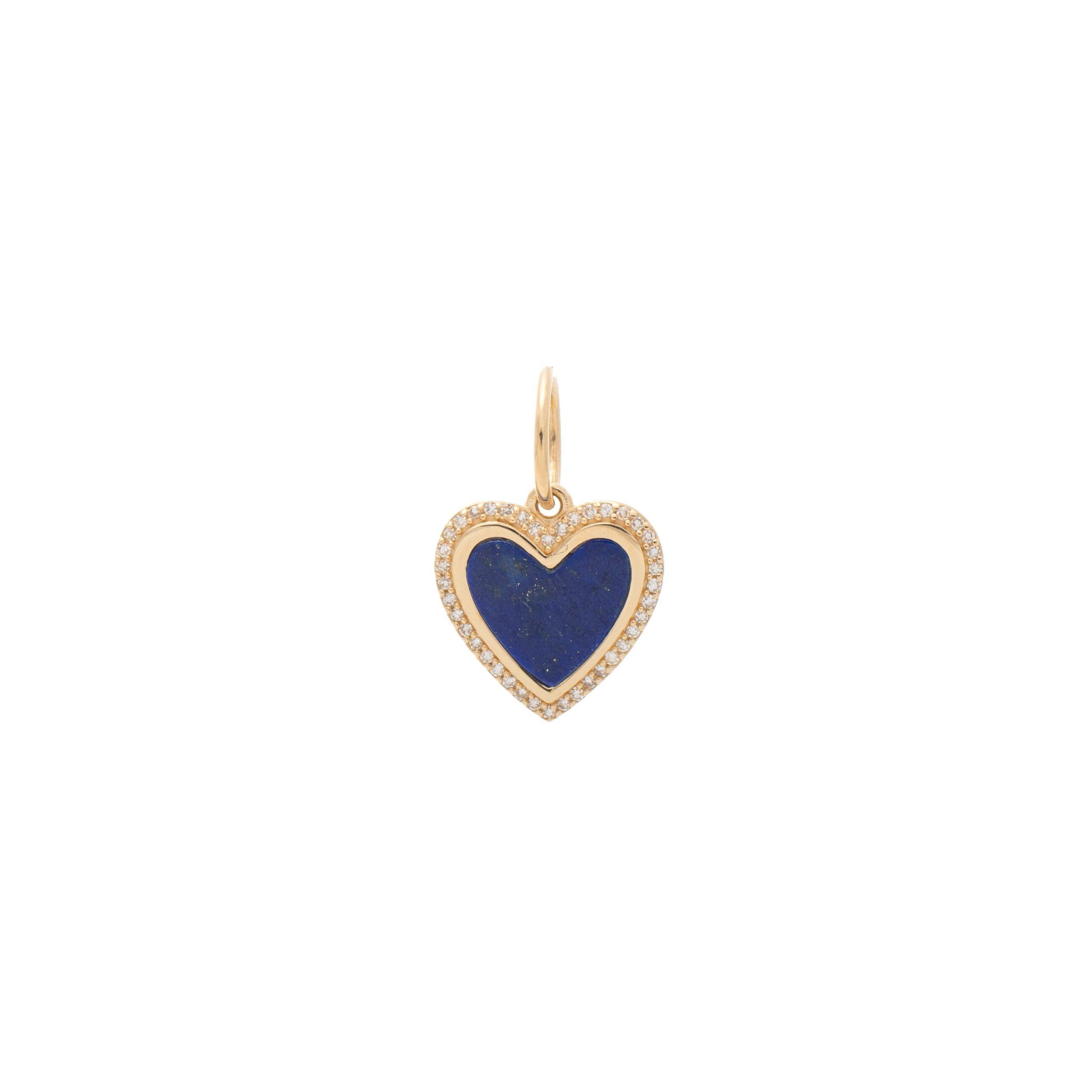 Small Diamond Lapis Heart Charm Yellow Gold