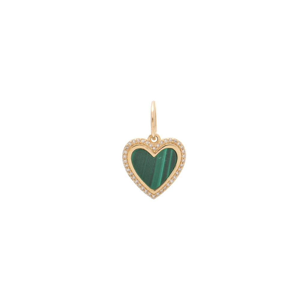 Small Diamond Malachite Heart Charm Yellow Gold