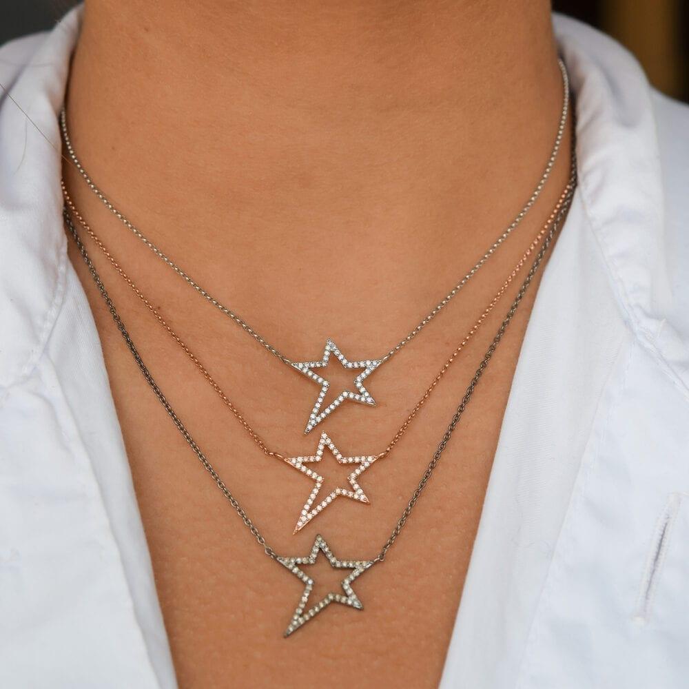 Small Diamond Star Statement Necklace