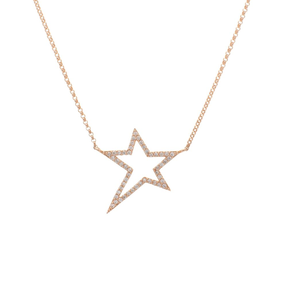 Small Diamond Star Statement Necklace Yellow Gold