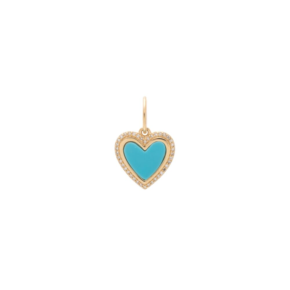 Small Diamond Turquoise Heart Charm Yellow Gold