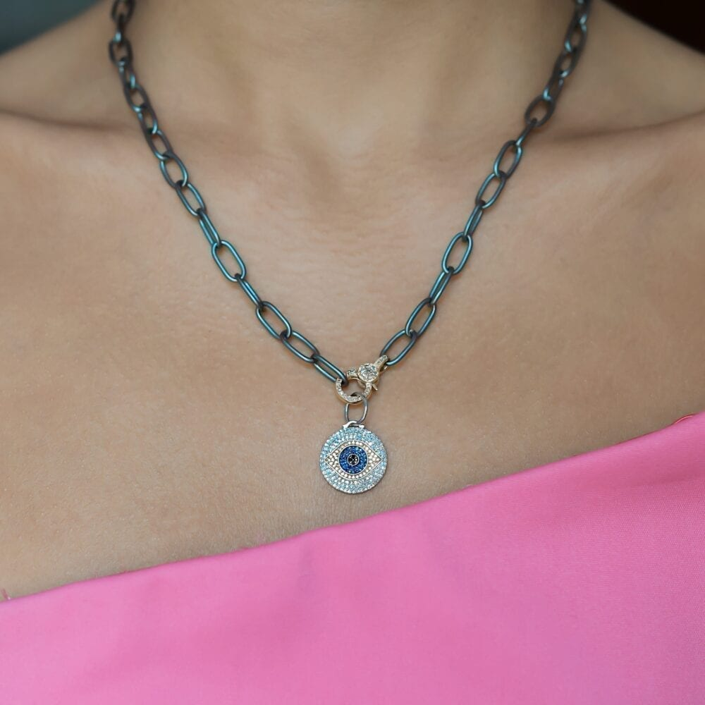 White + Black Diamond with Sapphires Evil Eye Charm