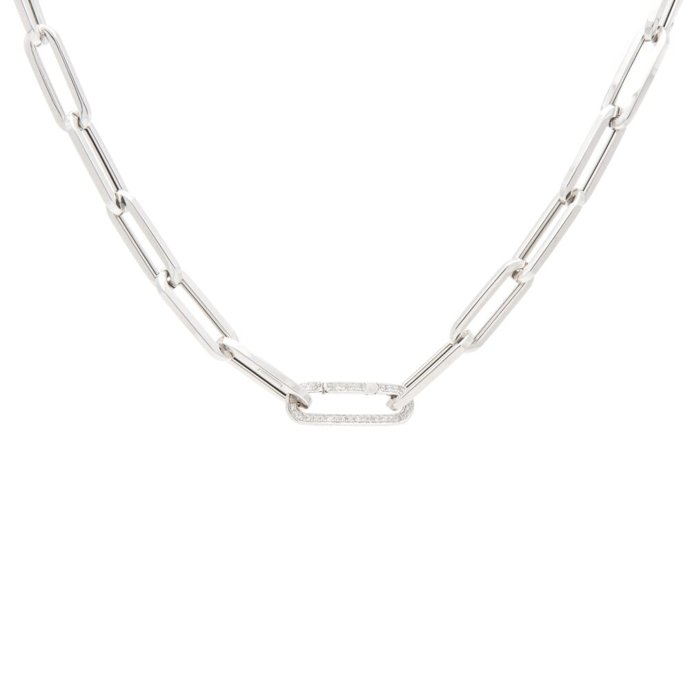 Large Chain Link Necklace + Pave Diamond Link Connector Clasp White Gold