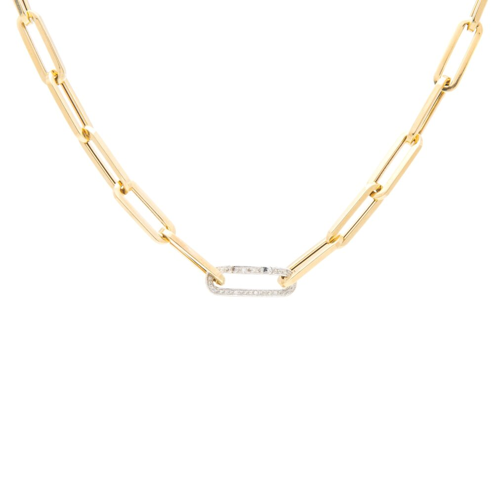 Large Chain Link Necklace + Pave Diamond Link Connector Clasp Yellow Gold