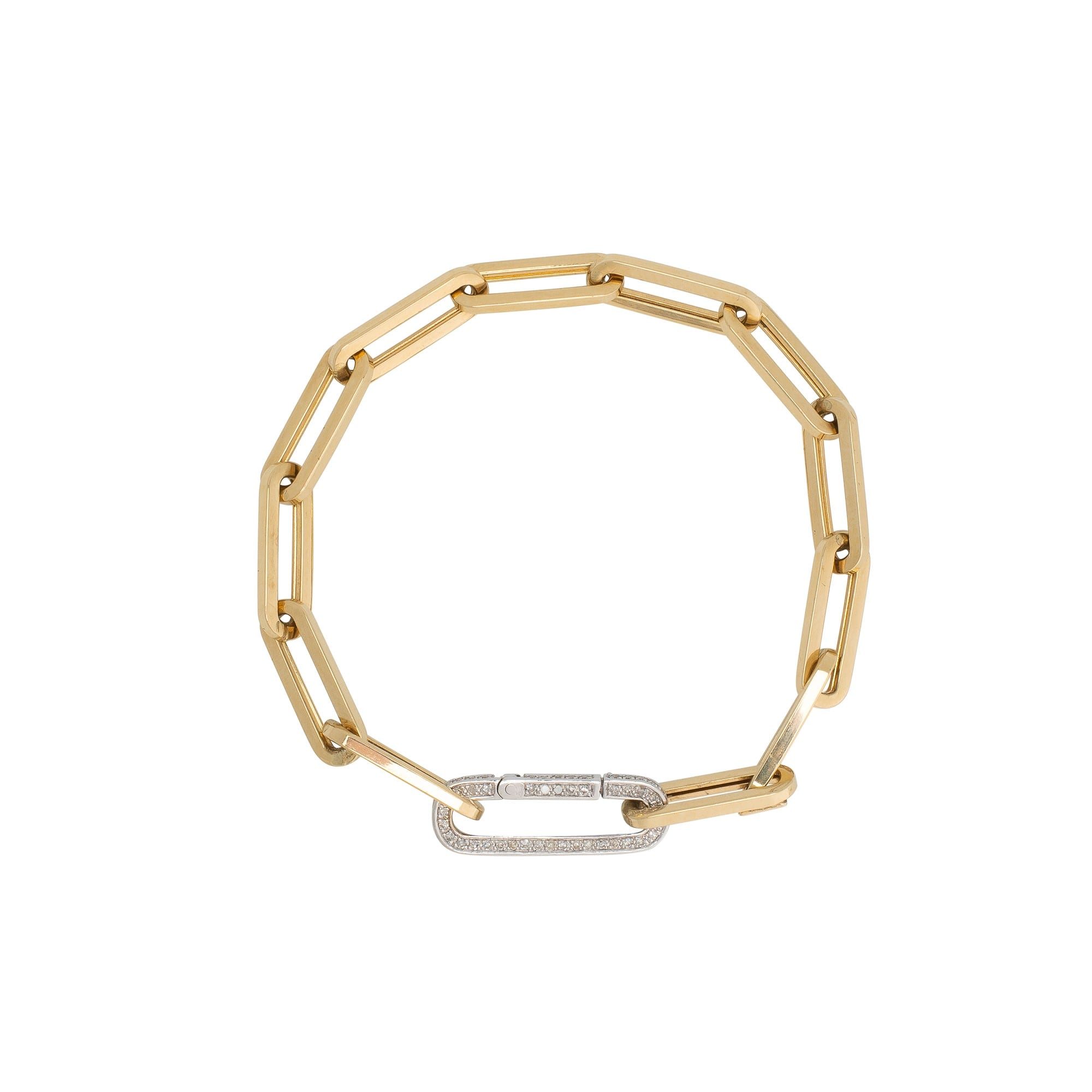 Medium Chain Link Bracelet + Pave Diamond Gold Link Connector Clasp