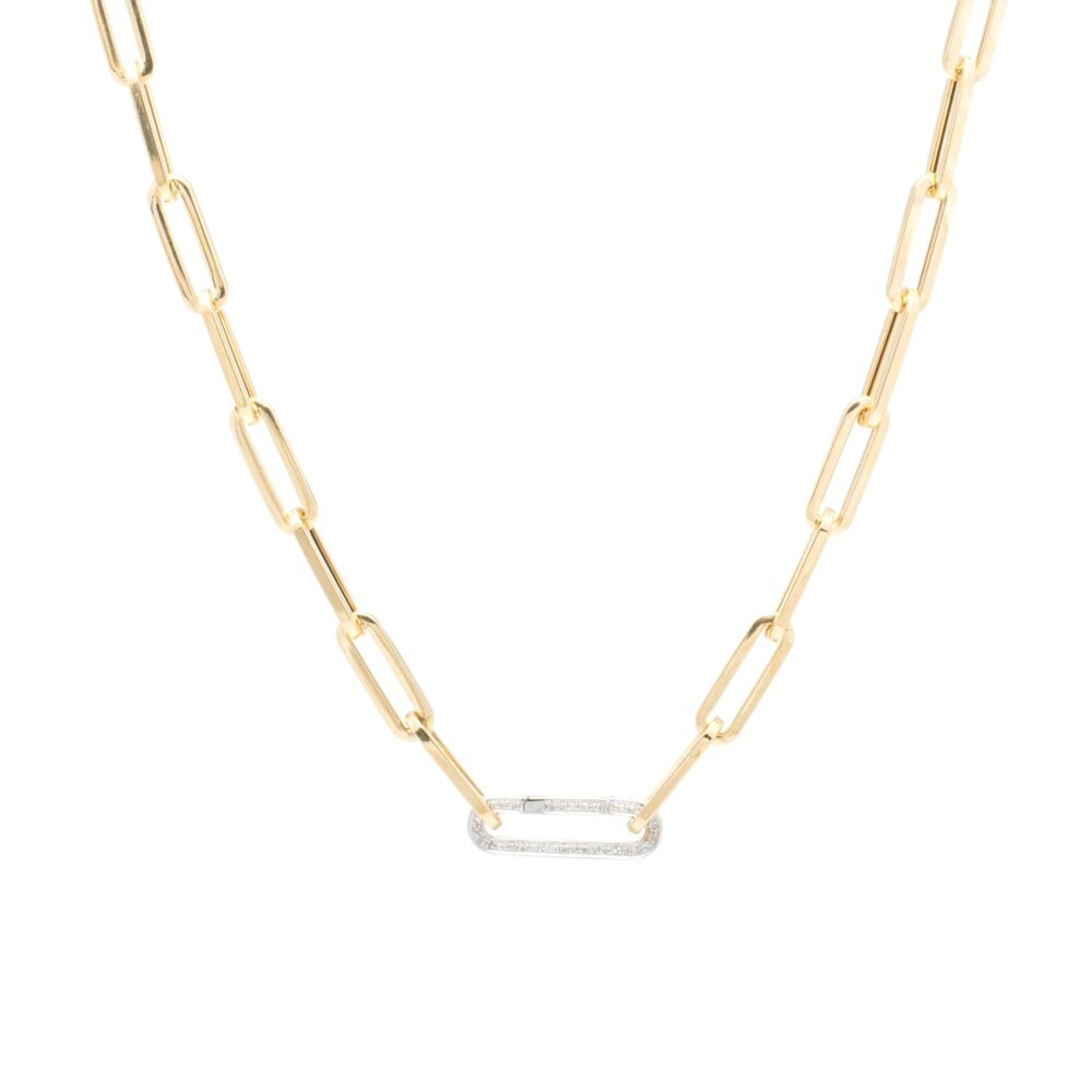 Medium Chain Link Necklace + Pave Diamond Link Connector Clasp