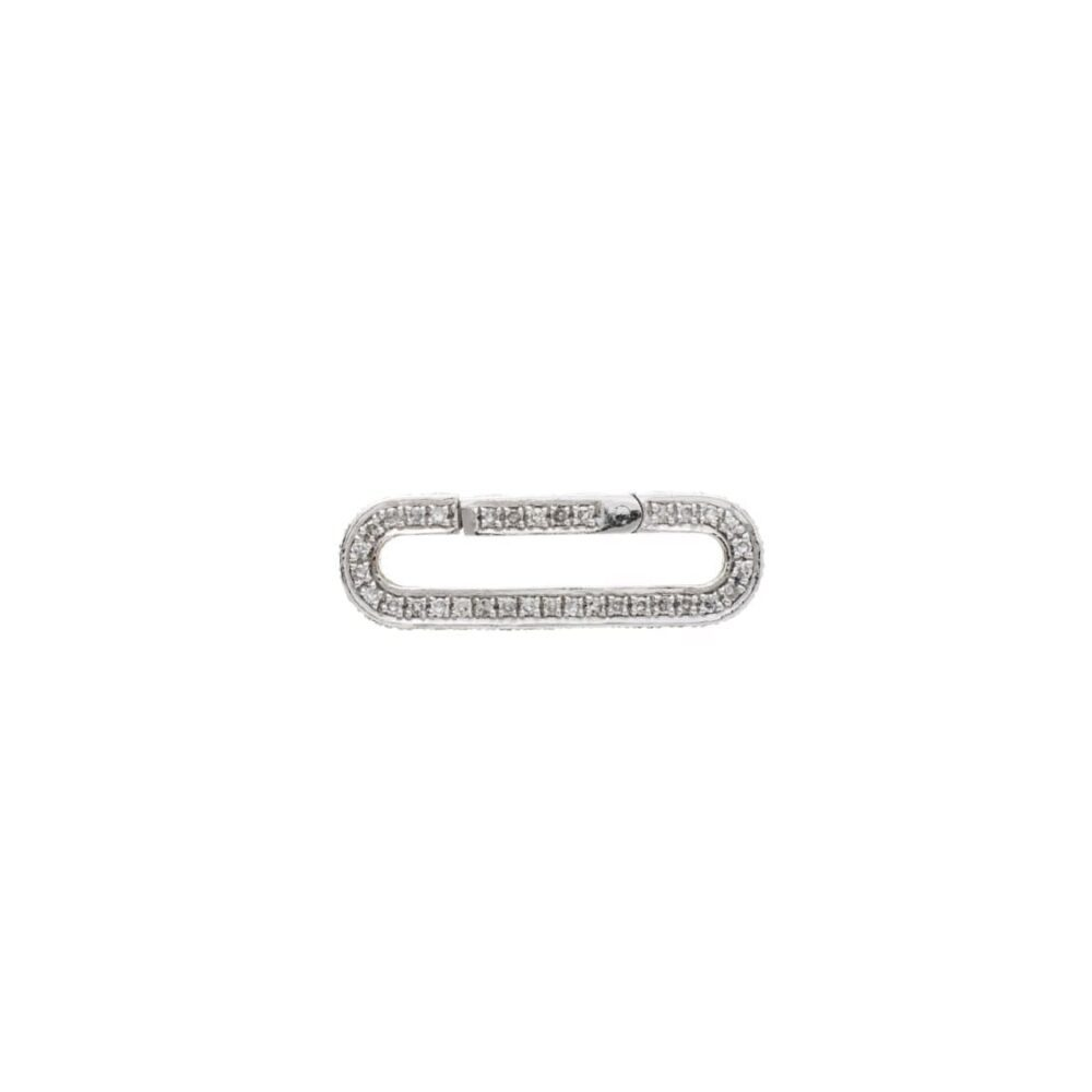 Pave Diamond Link Connector Clasp 14k White Gold Closed